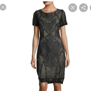 Goldie embroidery on mesh fitted midi dress XS